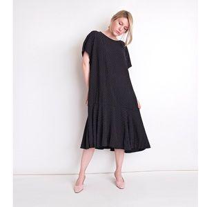Vintage 80s polka dot pleated swing market dress